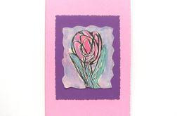 Kartka różowa z kwiatkiem nr 14