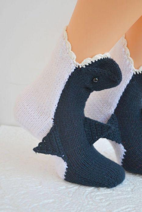 Rekiny  skarpetki -zjem Twoje stopy ;) granat