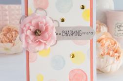 Kartka dla przyjaciela z różowym kwiatkiem