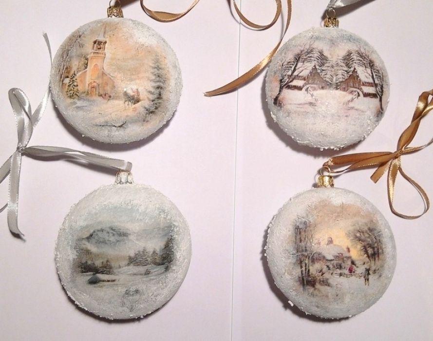 """Zestaw 4 bombek medalionów  """"zimowe widoki"""""""