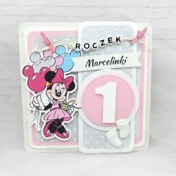 Kartka na roczek z Myszką Minnie klamerki