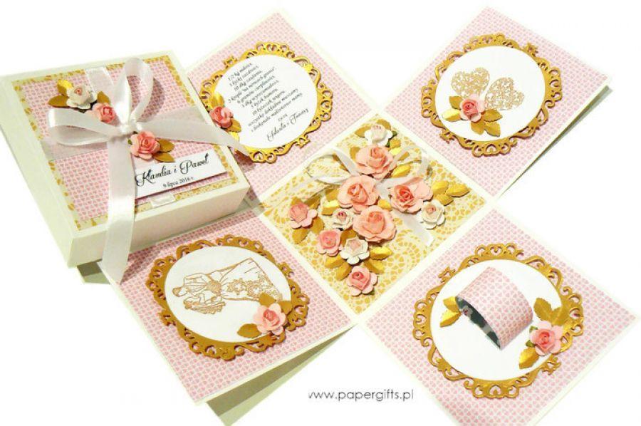 Exploding box ślubny złoto-różany - Pudełko na ślub