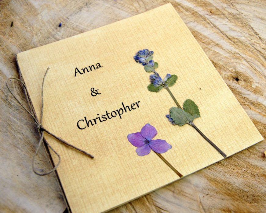 Zaproszenia ślubne z kwiatami - zproszenia rękodzieło