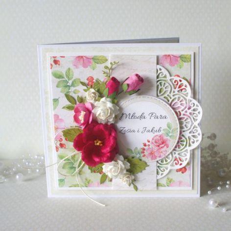 Różana kartka ślubna w pudełku v.4
