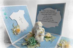 Exploding box niebieski chrzest aniołek