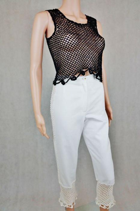 Spodnie białe  z wstawkami - Białe spodnie