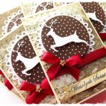 Kartka świąteczna w brązach z reniferem
