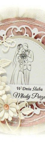 Kartka ślubna różowa z Parą Młodą