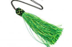 Długi naszyjnik z chwostem zielony