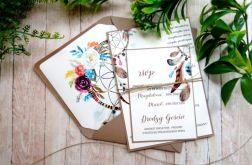 Zaproszenia ślubne jednokartkowe łapacz snów