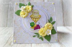 Kartka Pierwsza Komunia żółte stokrotki