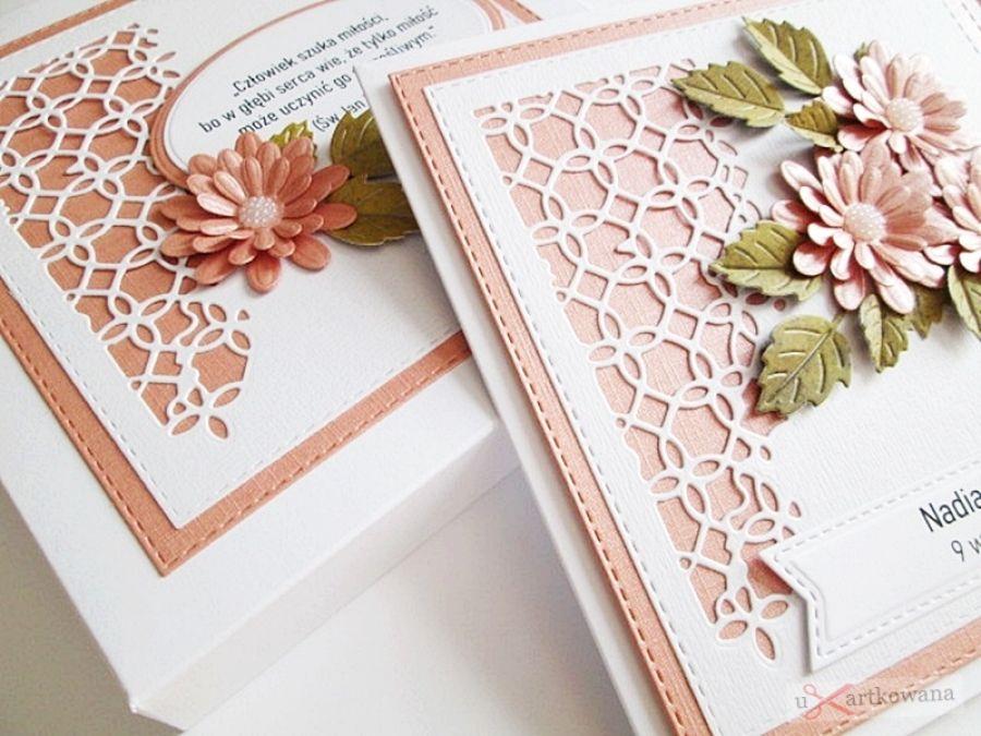Kartka ŚLUBNA - koralowe stokrotki - Koralowo-biała kartka na ślub ze stokrotkami