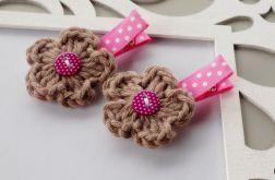 spineczki handmade 2 szt. różowo-brązowe