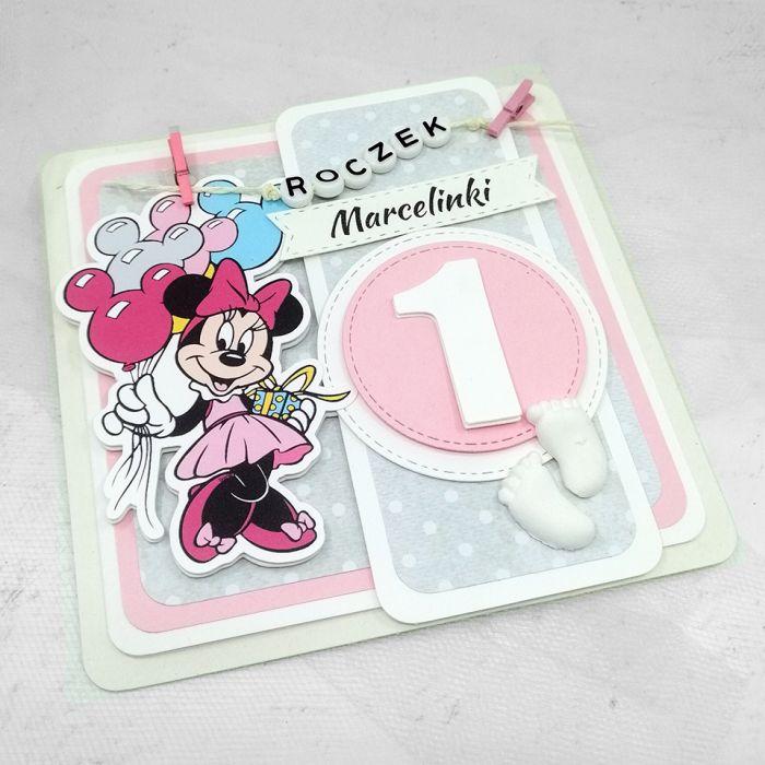 Kartka z Myszką Minnie klamerki UDP 008 - Kartka na Roczek dla dziewczynki z Myszką Minnie (2)