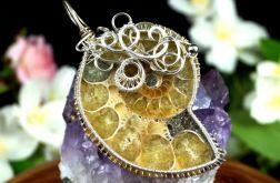 Ammonit, srebrny wisior z ammonitem