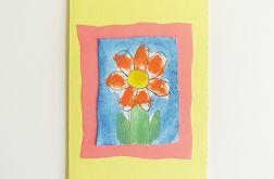 Kartka żółta  z kwiatkiem nr 13