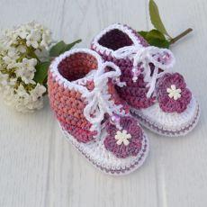 Trampki buciki biało lila - różowe