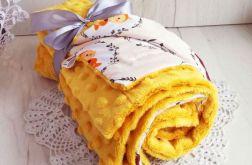 Kocyk minky + bawełna - musztardowe zwierzaki