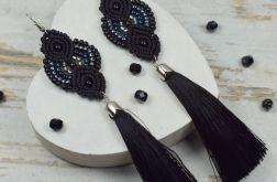 Długie, eleganckie kolczyki chwosty - czarne