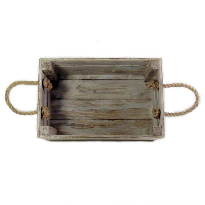 Skrzynka drewniana biało brązowa 20x31x16,5