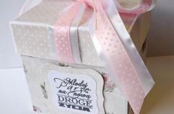 Pudełko, kartka ślubna beżowo - różowa