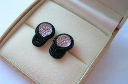 Czerń i róż - mini kolczyki sutasz