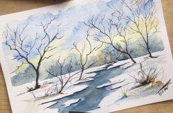 Obraz na ścianę akwarela drzewa zima mróz art