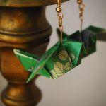 Kolczyki origami ptaki zielone  - z boku