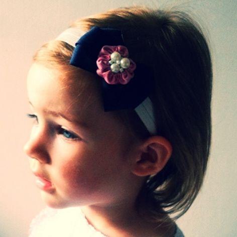 Opaska granatowa z perełkami dla dziewczynki