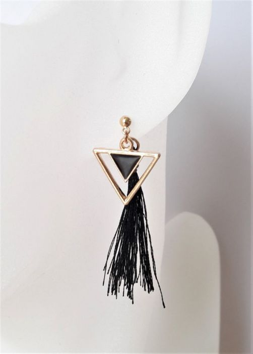Kolczyki w stylu Art Deco z czarnym chwostem