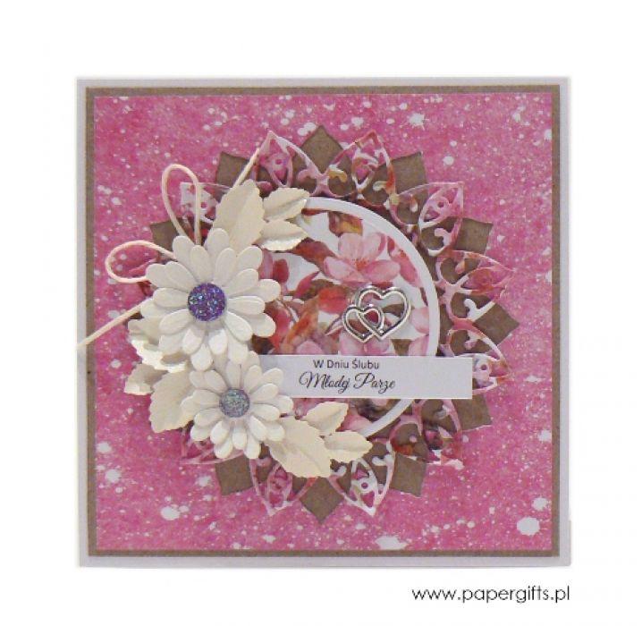 Kartka ślubna białe kwiaty w różu - Kartka ślubna białe kwiaty w różu