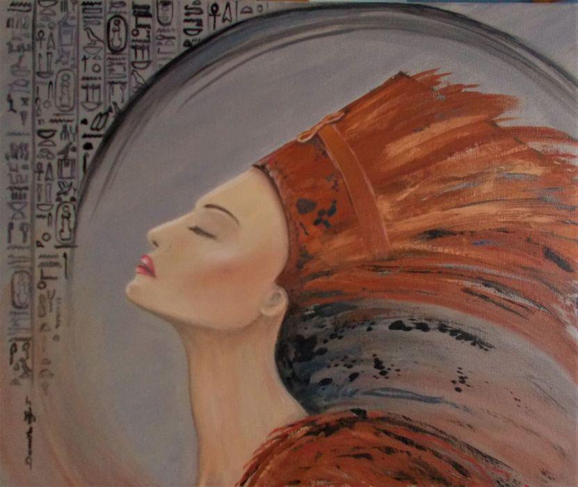 Nefretete - olej na płótnie. - Olej na płótnie malarstwo współczesne 50 x 60