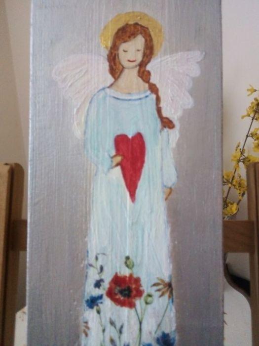 Anioł łąkowy - malowany na desce - widok