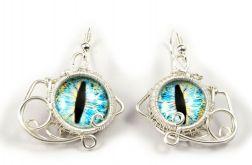 Niebieskie smocze oczy srebrne kolczyki