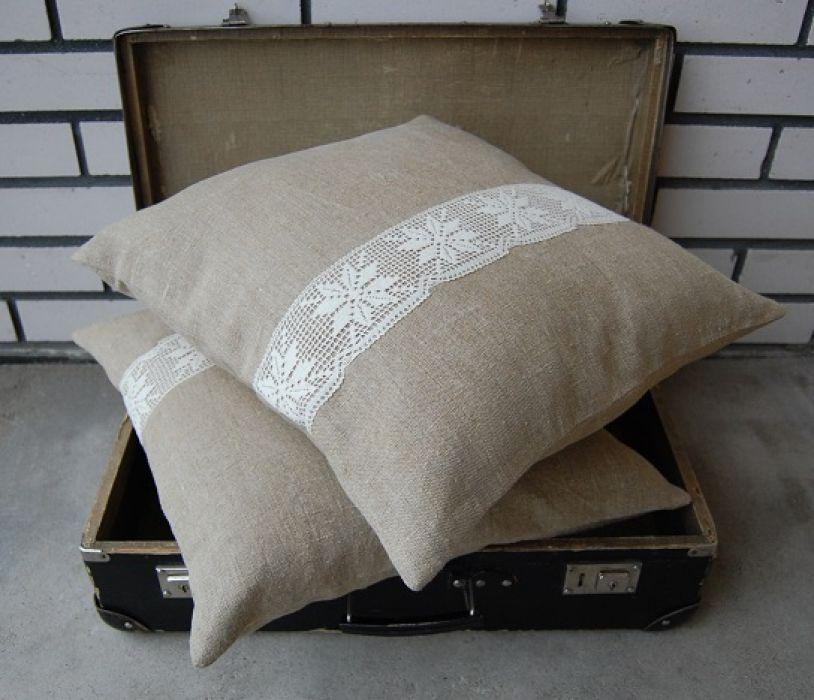 Rustic home - rustykalne, lniane poszewki na poduszki