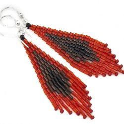 Kolczyki indiańskie srebro Toho czerwone