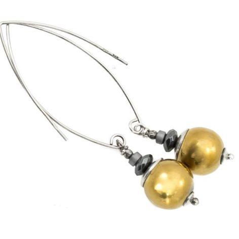 Kolczyki srebrne ze złotym hematytem długie