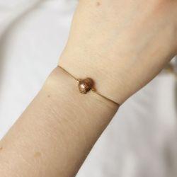 Bransoletka minimalistyczna z brązową perłą