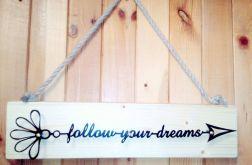napis motywacyjny DREAMS metal/drewno czarny