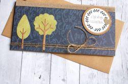 kartka kopertówka - drzewka - granat