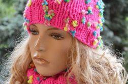 Różowy komplet czapka i szal petla