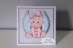 Kartka na Chrzest aniołek krateczka