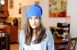 czapka damska męska niebieska