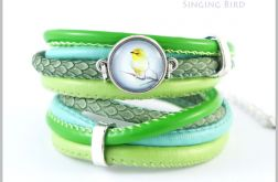 Bransoletka zielona - Śpiewający ptaszek - rzemienie