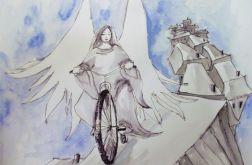 """Akwarela """"Przejażdżka po dachach"""" - anioł"""