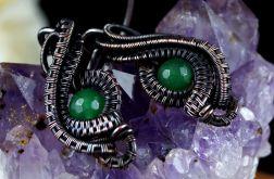 Agat, miedziane kolczyki z agatem zielonym