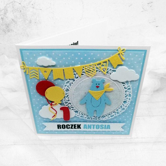 Kartka urodzinowa z Misiem UDP 031 - kartka z misiem i balonami dla chłopca urodzinki (2)
