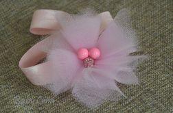 opaska różowy kwiatek z tiulu