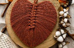 Liść piórko boho makrama z piórek ceglany