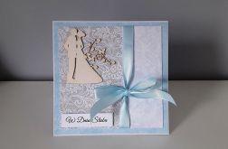 Kartka ślubn na ślub para młoda błękitna